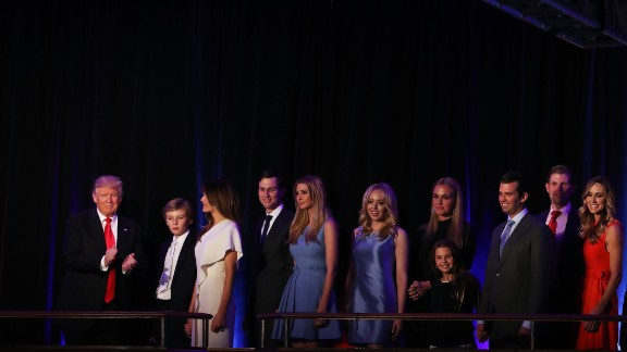 NEW YORK, NY - NOVEMBER 09:  Republican president-elect Donald Trump acknowledges the crowd along with (L-R) his son Barron Trump, wife Melania Trump, Jared Kushner, Ivanka Trump, Tiffany Trump, Vanessa Trump, Donald Trump Jr., Eric Trump and Lara Yunaska during his election night event at the New York Hilton Midtown in the early morning hours of November 9, 2016 in New York City. Donald Trump defeated Democratic presidential nominee Hillary Clinton to become the 45th president of the United States.  (Photo by Mark Wilson/Getty Images)