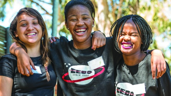 In March 2019, South Africa will launch the continent's first private satellite into space. It's been designed by school girls, within a STEM program. Pictured: Ayesha Salie, Sesam Mngqengqiswa, and Bhanekazi Tandwa on a learning boot camp with fellow teammates  in Worcester, Western Cape Province, South Africa.