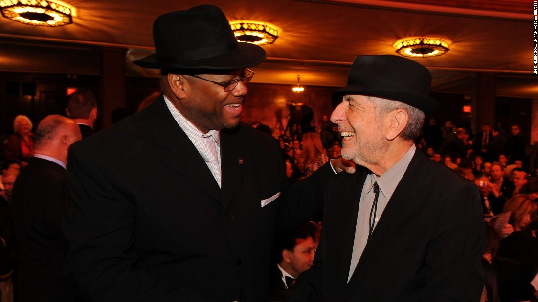 Music producer Jimmy Jam and Cohen attend the Grammys' special merit awards and nominee reception on January 30, 2010, in Los Angeles.