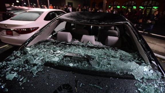 Numerous cars at a Toyota dealership were smashed as people protested in Portland on November 10.