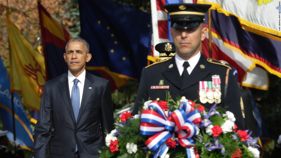 President Barack Obama participates in a wreath-laying ceremony at the Tomb of the Unknown Soldier on November 11.