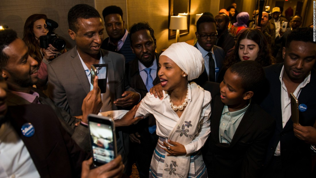 "Ilhan Omar, a candidate for the Minnesota House of Representatives, arrives for her victory party in Minneapolis on Tuesday, November 8. Omar, a former Somali refugee, will be the first Somali-American legislator in the United States. <a href=""http://www.cnn.com/2016/11/10/politics/us-election-women-who-won/"" target=""_blank"">The women who won: Down-ballot candidates make history</a>"