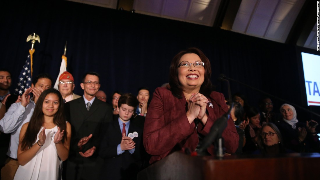 "U.S. Rep. Tammy Duckworth declares victory in her bid for a U.S. Senate seat in Illinois on Tuesday, November 8. Duckworth, a Democrat and Iraq war veteran who lost both of her legs in a helicopter crash, <a href=""http://www.cnn.com/2016/11/10/politics/us-election-women-who-won/"" target=""_blank"">defeated incumbent Mark Kirk.</a>"