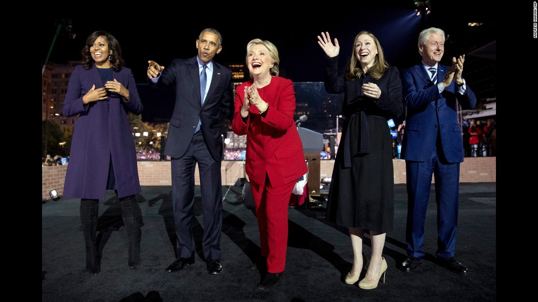 The Obamas and the Clintons attend a Hillary Clinton campaign rally in Philadelphia on Monday, November 7.