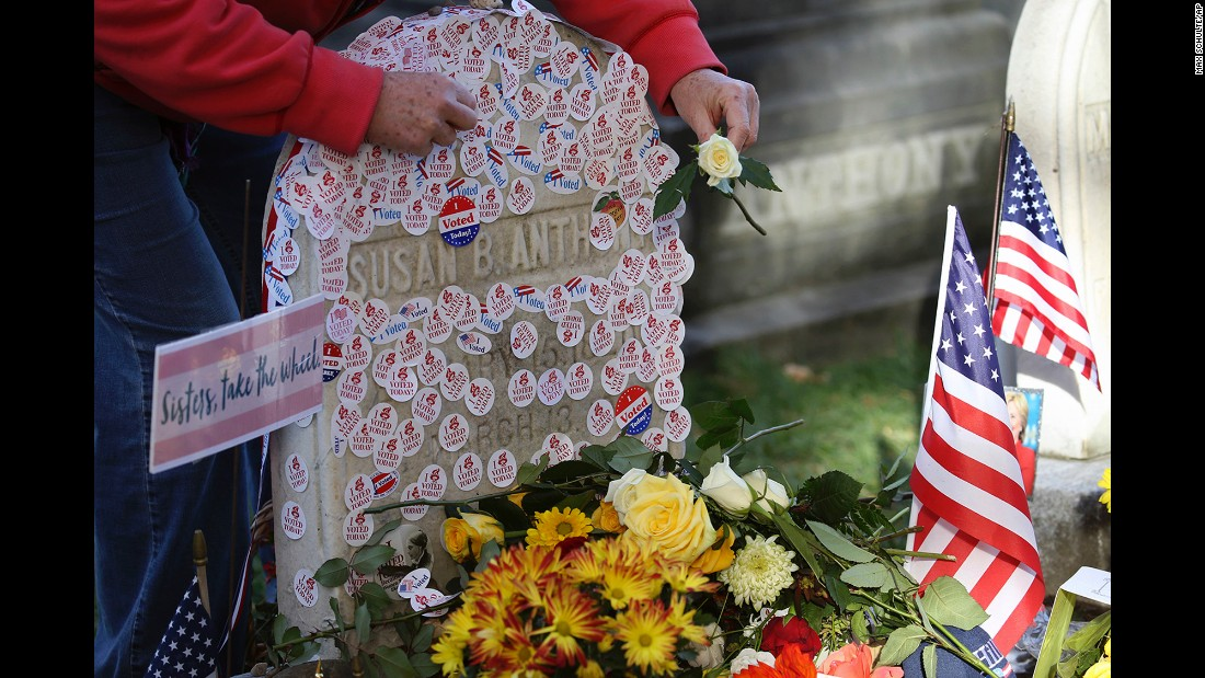 """I voted"" stickers are placed at the gravesite of Susan B. Anthony in Rochester, New York, on Tuesday, November 8. Anthony, a social reformer who died in 1906, played a major role in the <a href=""http://www.cnn.com/2016/08/18/politics/gallery/tbt-womens-suffrage/index.html"" target=""_blank"">women's suffrage</a> movement."