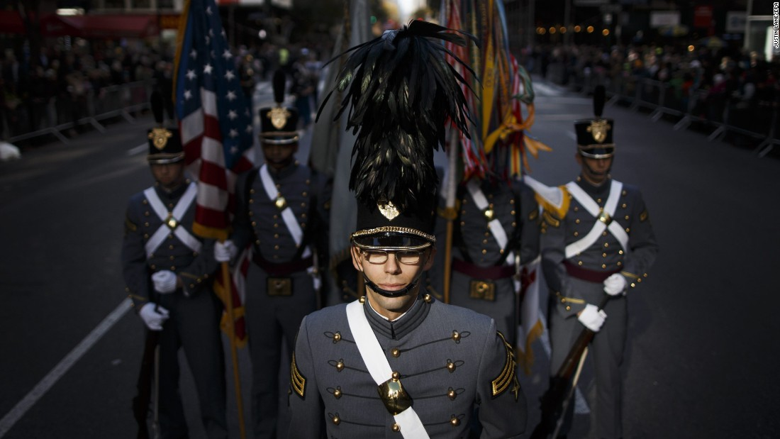 Members of the West Point Military Academy band participate in the annual Veterans Day parade in New York on Friday, November 11.