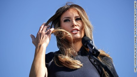WILMINGTON, NC - NOVEMBER 05:  Melania Trump, wife of Republican presidential nominee Donald Trump, introduces her husband during a campaign rally the Air Wilmington Hangar located at Wilmington International Airport November 5, 2016 in Wilmington, North Carolina. With less than a week before Election Day in the United States, Trump and his opponent, Democratic presidential nominee Hillary Clinton, are campaigning in key battleground states that each must win to take the White House.  (Photo by Chip Somodevilla/Getty Images)