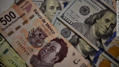 Bank notes of Mexican pesos and US Dollars are pictured in Mexico City, on November 8, 2016. The dollar tumbled against the yen and euro while the Mexican peso fell off a cliff as polling results in the knife-edge US presidential race pointed to a strong showing by Donald Trump. / AFP / YURI CORTEZ        (Photo credit should read YURI CORTEZ/AFP/Getty Images)