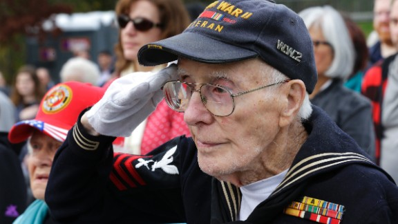 World War II Navy veteran Donald E. Hanson, 94, salutes during a Veterans Day ceremony at Tahoma National Cemetery on November 11  in Kent, Washington.