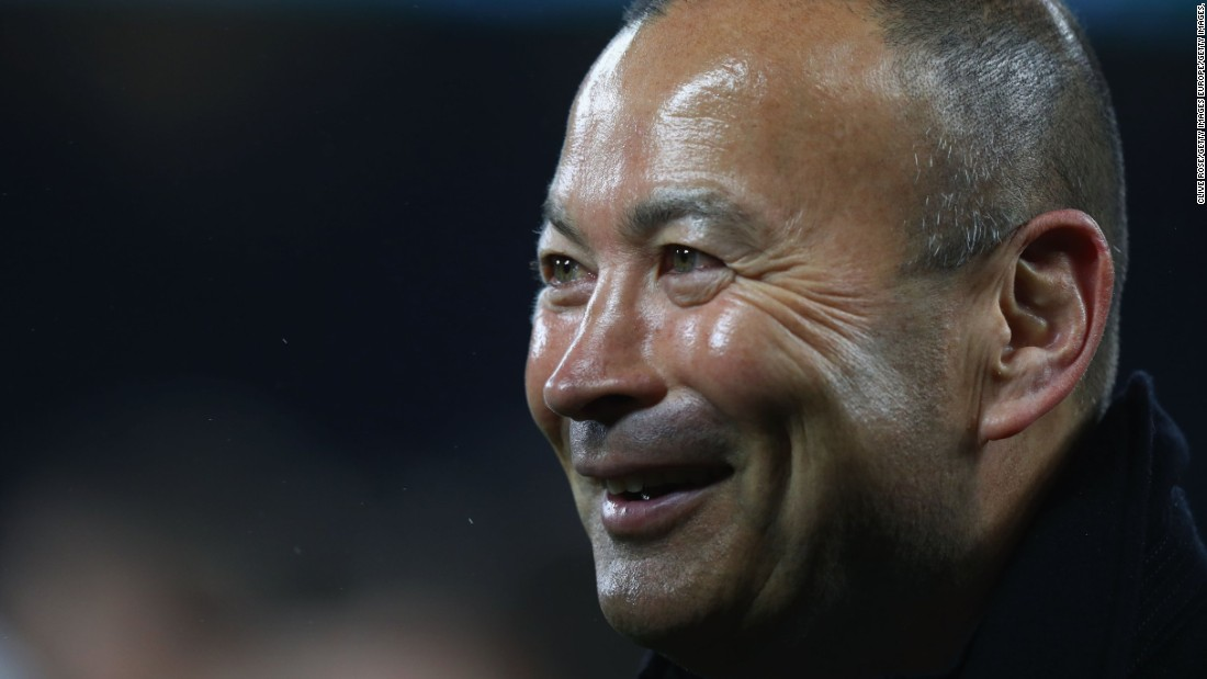 Coach Eddie Jones is smiling -- but wasn't completely happy with the England performance.