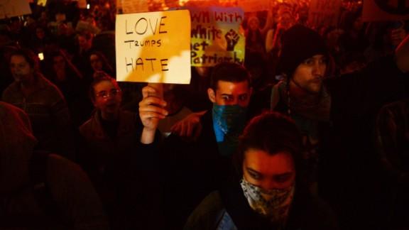 Demonstrators in Portland, Oregon on November 11.