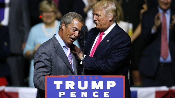 Republican presidential nominee Donald Trump, right, greets UKIP leader Nigel Farage on August 24, 2016 in Jackson, Mississippi.