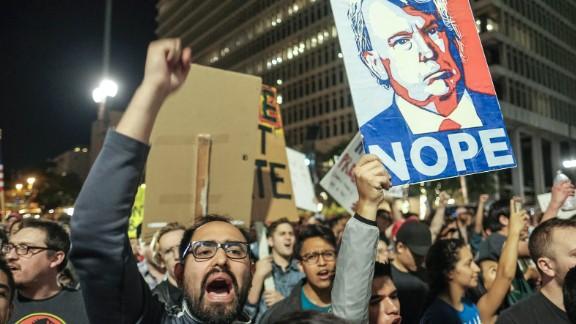 Demonstrators in Los Angeles on November 9.
