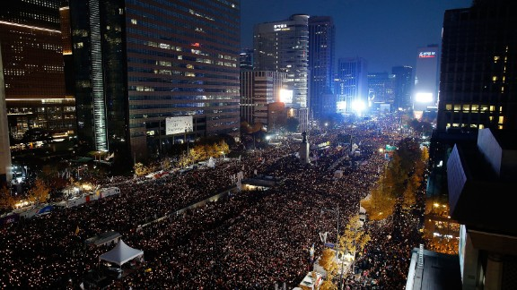 SEOUL, SOUTH KOREA - NOVEMBER 12: Thousands of South Koreans take to the streets in the city center to demand President Park Geun-Hye to step down on November 12, 2016 in Seoul, South Korea. Approximately hundreds of thousands of people joined the anti-government protest Saturday amid rising public frustration for President Park Geun-hye