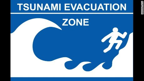 A tsunami evacuation zone sign from Hawaii.