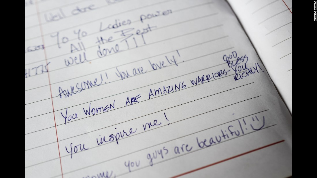 A guestbook at the cafe sings the women's praises.