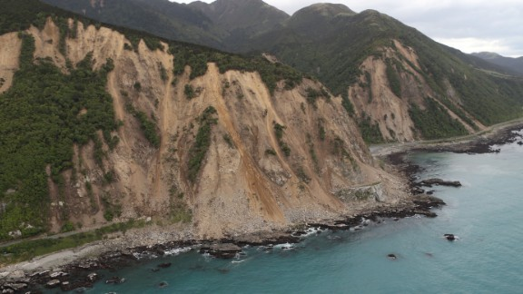 The extent of damage to State Highway One is seen near Ohau on November 14.