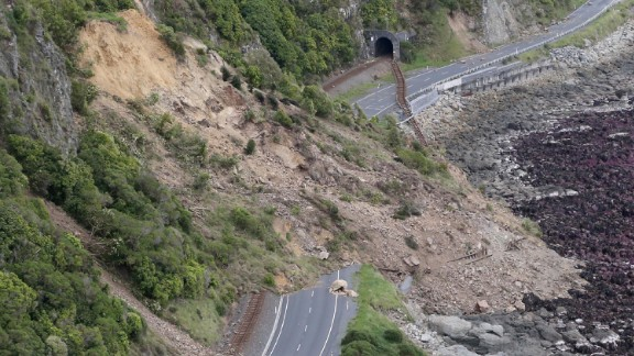 A landslide cuts off State Highway One near Ohau Point on the east coast of the South Island on Monday, November 14.