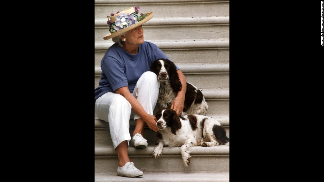 Barbara Bush, wife of George Senior, was involved in many charitable and humanitarian efforts during her time as first lady. Her causes including tackling homelessness, AIDS, and helping the elderly. She also campaigned and raised funds to improve literacy, which was motivated by her son Neil's dyslexia.