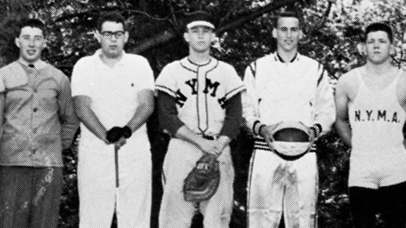 Trump, center, wears a baseball uniform at the New York Military Academy in 1964. After he graduated from the boarding school, he went to college. He started at Fordham University before transferring and later graduating from the Wharton School, the University of Pennsylvania