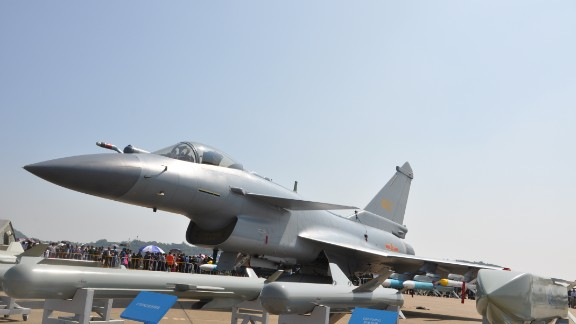 A Chinese Air Force J-10 fighter on display an Airshow China in Zhuhai November 2016.