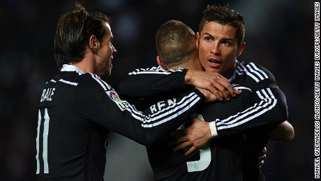 Ronaldo (right), Benzema (center) and Bale are the other top trio in Spain.