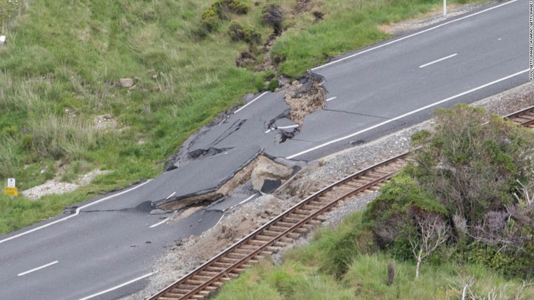Earthquake damage on New Zealand's State Highway One and the main railway line north of Kaikoura is seen on November 14.