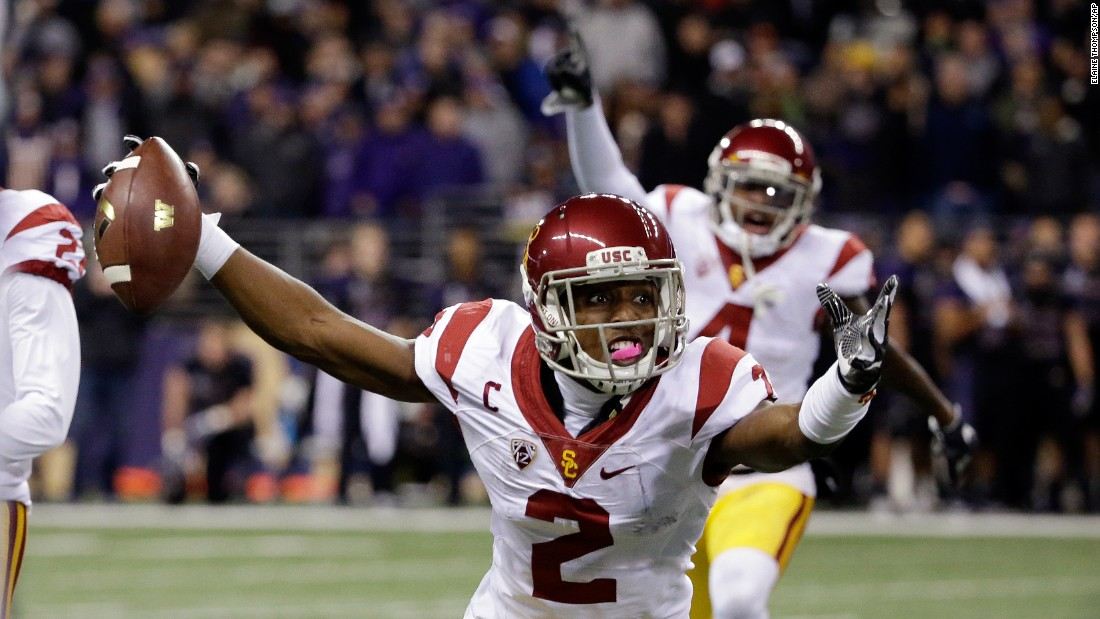 USC cornerback Adoree' Jackson reacts after one of his two interceptions at Washington on Saturday, November 12. USC upset the undefeated Huskies 26-13.