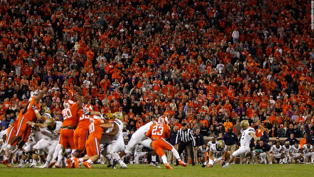 Pittsburgh's Chris Blewitt kicks a 48-yard field goal to beat second-ranked Clemson 43-42 on Saturday, November 12. It was Clemson's first loss of the season.