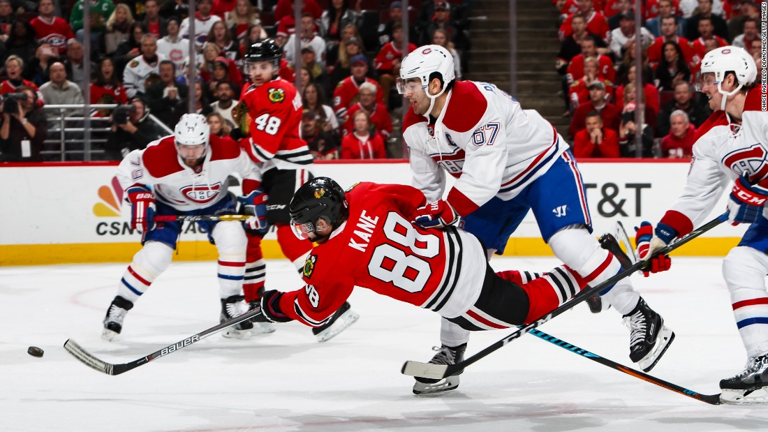 "Chicago's Patrick Kane falls over as he scores <a href=""https://www.nhl.com/video/kanes-spectacular-deke-and-goal/t-277443702/c-46330503"" target=""_blank"">a spectacular goal</a> against Montreal on Sunday, November 13."