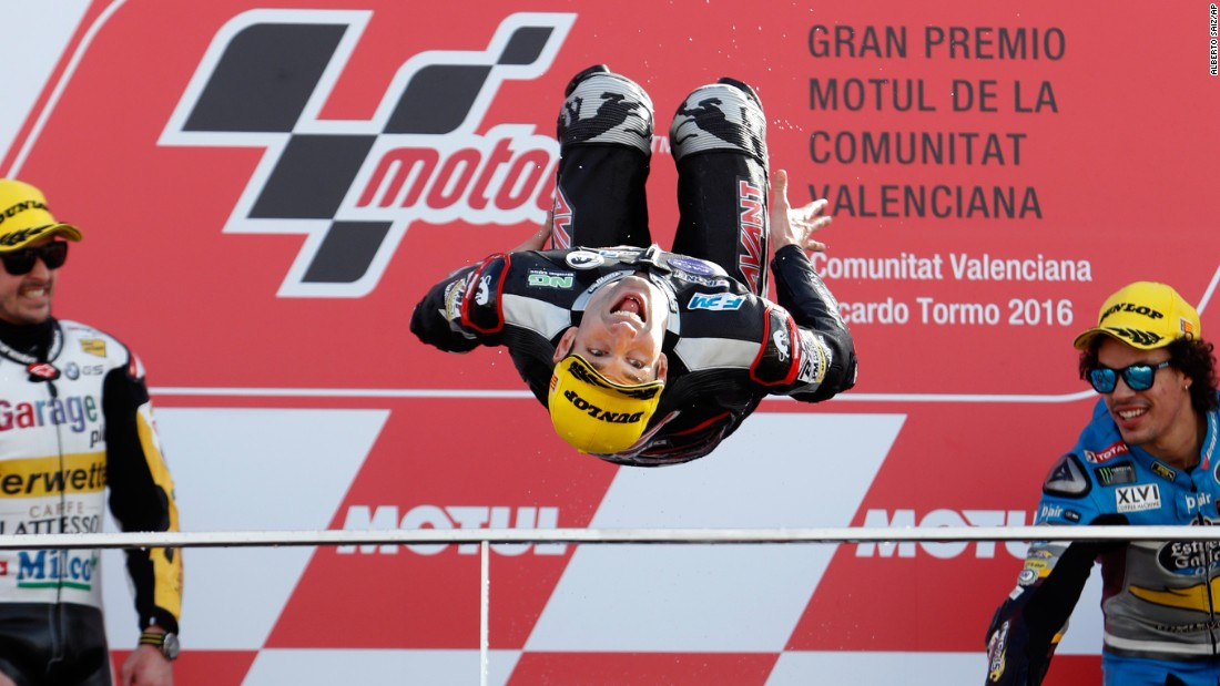 Moto2 world champion Johann Zarco does a backflip on the podium after winning the Valencia Grand Prix, the last race of the season, on Sunday, November 13.