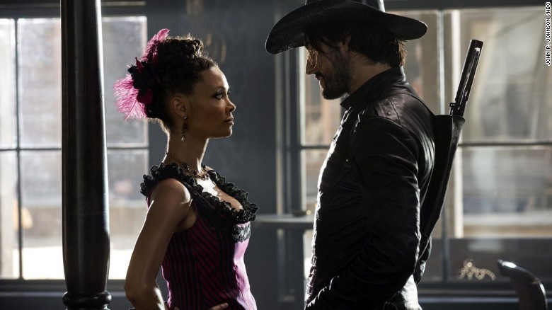 Thandie Newton and Rodrigo Santoro in Westworld.