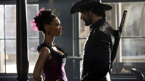 Thandie Newton and Rodrigo Santoro in Westworld.