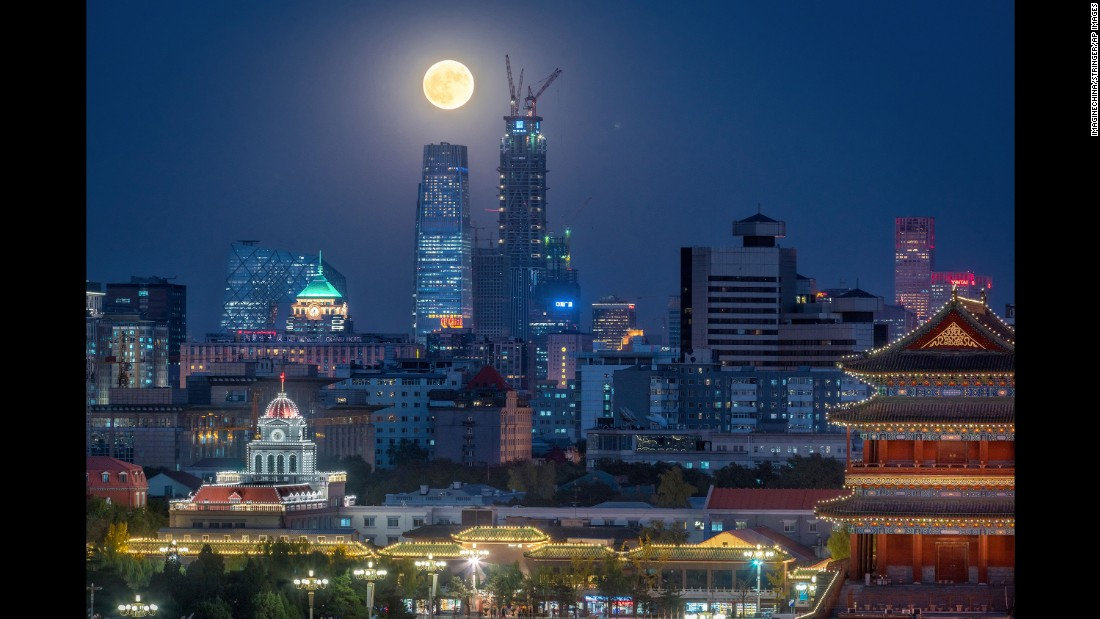The supermoon is seen in Beijing on November 14.