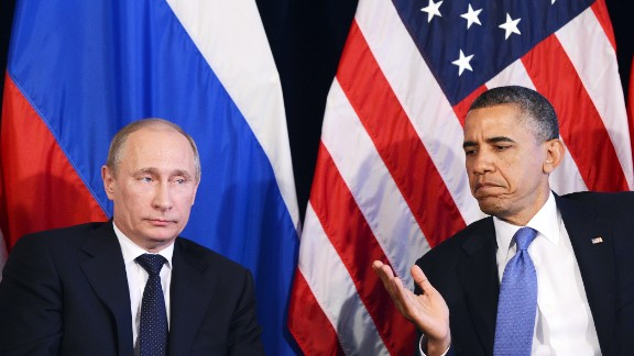 Russian President Vladimir Putin and US President Barack Obama appear together in this file image.