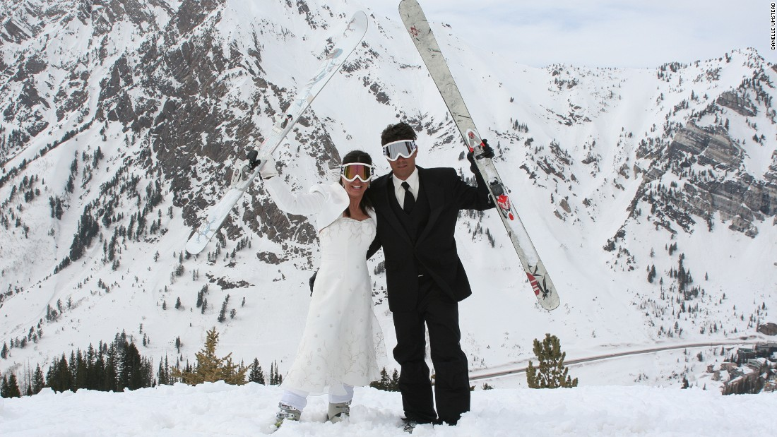 Danelle and Rob first connected après skiing in Taos, New Mexico. They  got married in 2008 at the top of the mountain in Snowbird, Utah. <br />