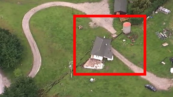 A house on a fault line is shown after Monday's earthquake in New Zealand