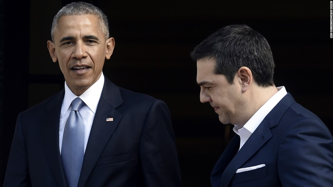Tsipras welcomes Obama before formal talks in Athens on November 15.