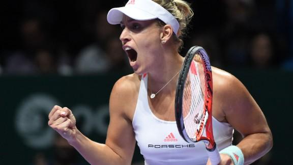 Angelique Kerber of Germany celebrates a point against Dominika Cibulkova of Slovakia during their women