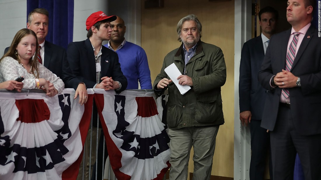 Bannon attends a Trump rally in Eau Claire, Wisconsin, in November 2016.