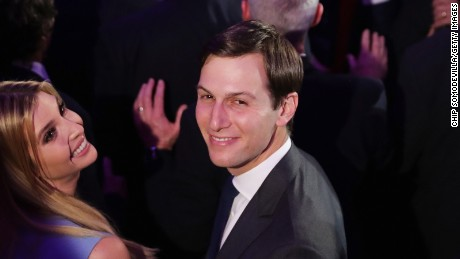 Jared Kushner and his wife Ivanka Trump acknowledge the crowd at the New York Hilton Midtown in the early morning hours of November 9, 2016 in New York City.