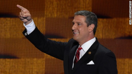 Rep. Tim Ryan of Ohio arrives on stage to address delegates at the Democratic National Convention on July 28, 2016, in Philadelphia.