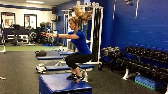 Box jumps are exactly what they sound like: jumping up on a box. The goal is not to achieve a high height for low reps but to jump repeatedly for higher reps with grace and control, landing softly each time.