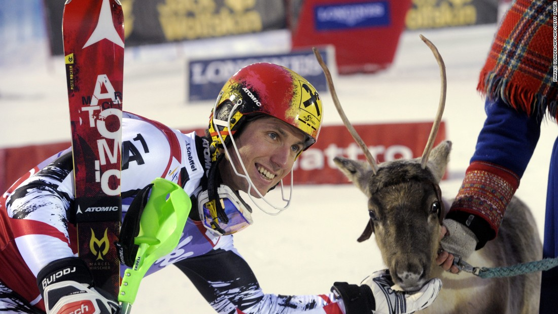 Hirscher with his reindeer from 2013, named Lars after his father. He went on to win the overall title that year.