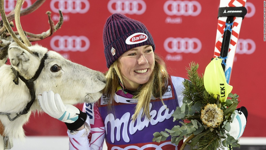 Mikaela Shiffrin meets her reindeer after winning the women's slalom event at the Alpine Skiing World Cup in Levi, Finland.