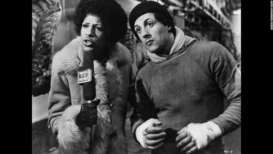 In another iconic scene, Rocky does an interview with a TV reporter after punching beef in a meat locker.