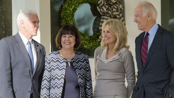 Vice President Joe Biden and his wife, Jill, meet with Vice President-elect Mike Pence(L) and his wife, Karen, following lunch at the Naval Observatory in Washington, DC, November 16, 2016.