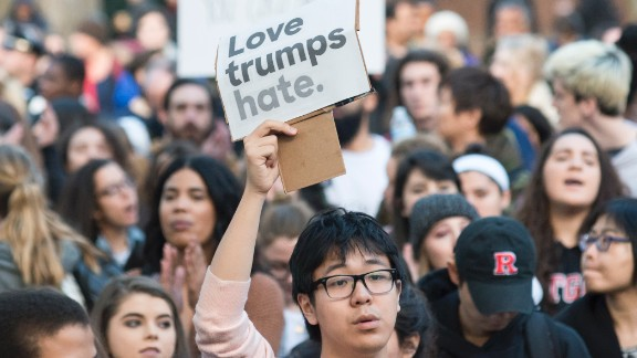 Nearly 1,000 students and faculty members at Rutgers University staged a rally in downtown New Brunswick, New Jersey, to protest President-elect Donald Trump on Wednesday, November 16. At least 25 US cities have seen protests since Trump won the presidential election.