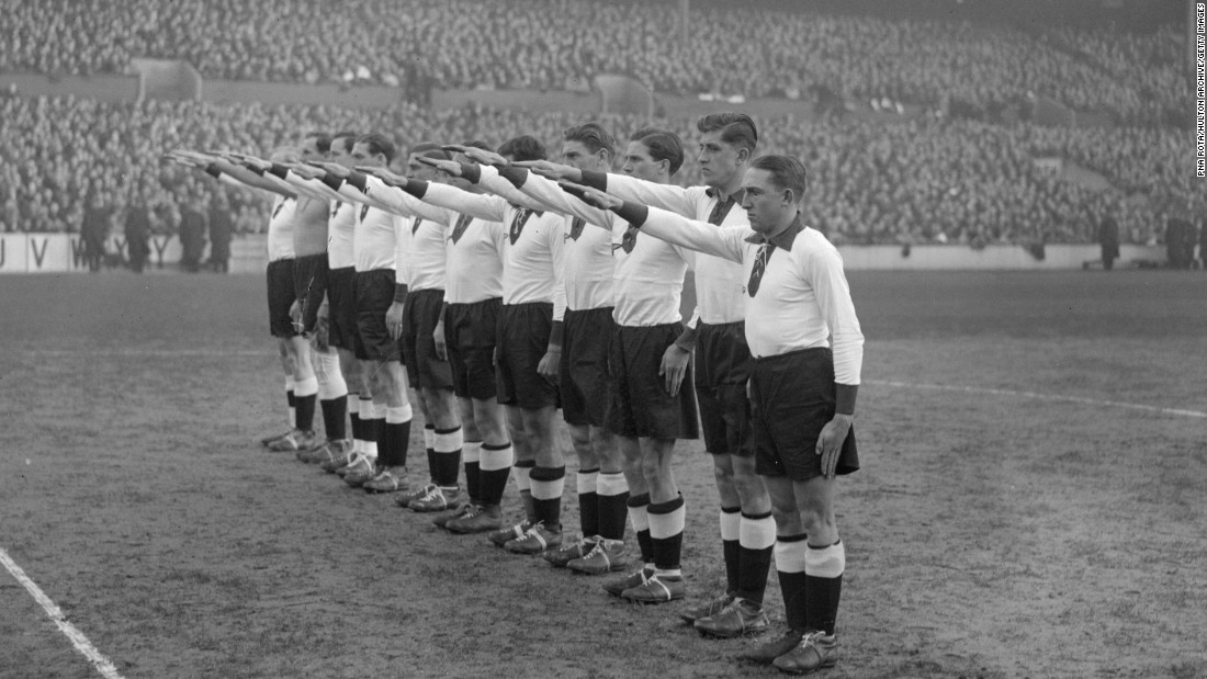 Social protest is also something undertaken by fans. Back on December 4, 1935, the German football team give the Nazi salute at White Hart Lane, the London home of Tottenham Hotspur. England fans protested outside the stadium before the match, according to sports sociologist Joseph Maguire.