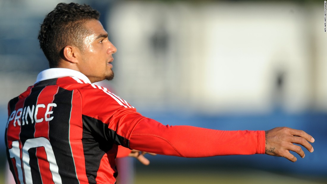 "AC Milan's former Ghanaian defender Kevin-Prince Boateng picked up the ball, kicked it towards the stands and walked off the pitch during a friendly against Pro Patria in Busto Arsizio on January 3, 2013 because of racists chants from home supporters. ""Shame that these things still happen,"" the 25-year-old German-born Ghanaian player said on his Twitter account. The match was stopped in the 26th minute when he led his team off the pitch."